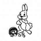 Bunny with dropped basket, decals stickers