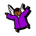 Black angel with purple dress, decals stickers