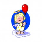 Angel holding red balloon, decals stickers