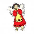 Angel with red dress smiling, decals stickers