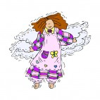 Angel with pink and purple dress smiling, decals stickers