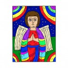 Angel with rainbows painting, decals stickers