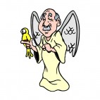 Angel with yellow bird, decals stickers