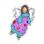 Angel with purple and blue dress smiling, decals stickers