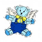 Blue teddy bear with yellow buckle, decals stickers