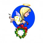 Angel holding wreath with red buckle, decals stickers