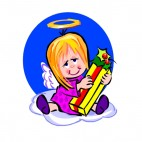 Angel with gift, decals stickers