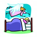 Guardian angel looking over girl sleeping in his bed, decals stickers