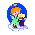 Angel with cake, decals stickers