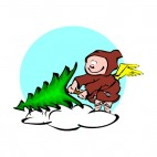 Cherub sitting on pine tree, decals stickers