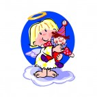 Angel holding clown doll, decals stickers