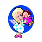 Angel holding girl doll, decals stickers