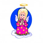 Angel in pink dress praying, decals stickers