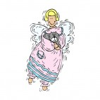 Angel with pink dress holding grey kitten, decals stickers