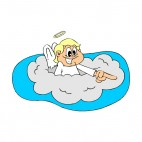 Angel in a cloud laughing and pointing, decals stickers