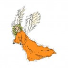 Angel with orange dress, decals stickers
