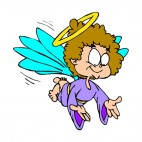 Angel with purple dress with open arms, decals stickers