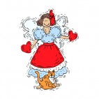 Angel with blue and red dress holding hearts with cat, decals stickers