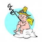 Cherub with stick and hat waiting, decals stickers