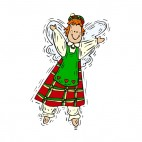 Angel with green and red dress smiling, decals stickers