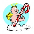 Cherub holding candy cane, decals stickers