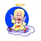 Angel eating doughnut, decals stickers