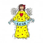 Angel in yellow and red hearts dress with love banner, decals stickers