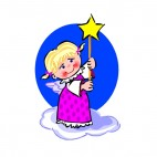 Angel with pink dress holding star stick, decals stickers