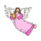 Angel with pink dress playing harp, decals stickers