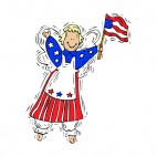 Patriotic angel with us flag, decals stickers