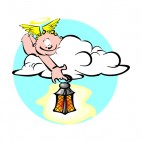 Cherub laying on cloud holding lantern, decals stickers