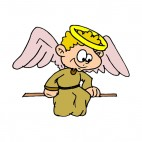 Angel with brown robe looking down, decals stickers