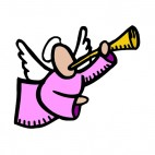 Angel with pink dress playing horn, decals stickers