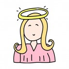 Angel with pink dress smiling, decals stickers