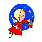 Angel with red dress painting, decals stickers