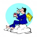 Angel in blue suit drinking wine, decals stickers