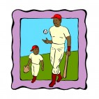 African american father and son playing  baseball, decals stickers