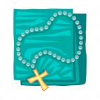 Blue and gold rosary, decals stickers