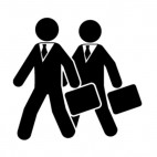 Mens with briefcases, decals stickers