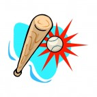 Baseball bat hiting ball, decals stickers