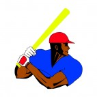 Afro American baseball batter, decals stickers