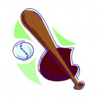 Baseball ball with glove and bat, decals stickers