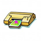 Beige printer with green and red lights, decals stickers