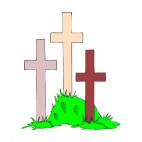 3 multi colors crosses sticked to the ground , decals stickers