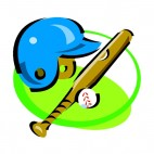 Baseball helmet with glove and ball, decals stickers