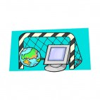 Glove with monitor and goal net internet communication, decals stickers