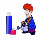 Men watering bar graph, decals stickers