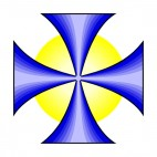 Blue St John cross with yellow circle, decals stickers