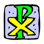 Green and yellow chi rho cross drawing, decals stickers