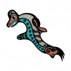 Grey and blue fish figure, decals stickers